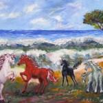 354 - Cavalli in riva al mare 35x50