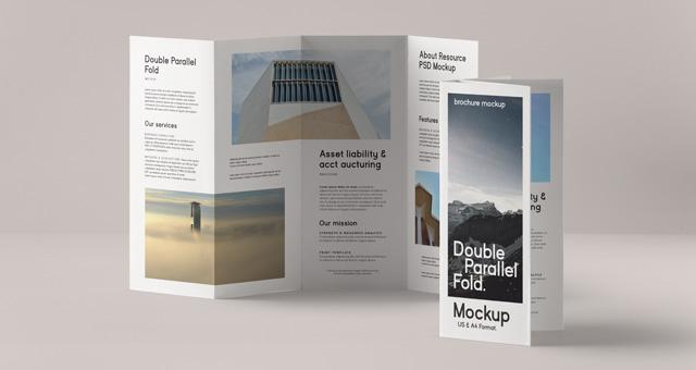 Double Parallel Fold Psd Brochure Psd Mock Up Templates Pixeden - double fold brochure