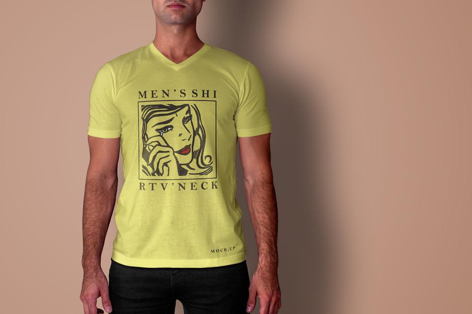 Psd Men T-shirt Mockup V-Neck Psd Mock Up Templates Pixeden