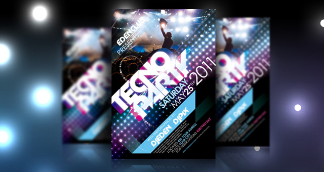 Tecno Party Flyer Template Psd Flyer Templates Pixeden - party brochure template