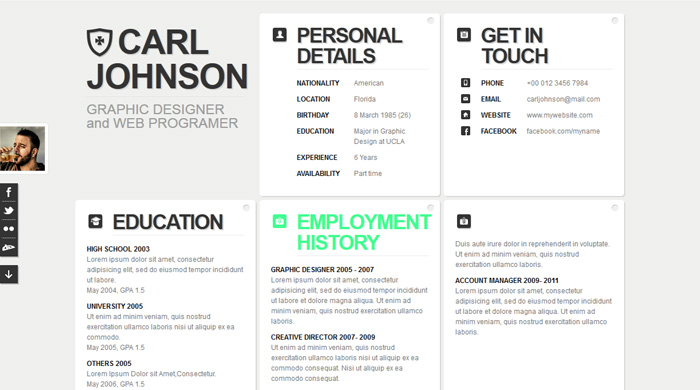 clean_white_style_resume_cv_html CV \/ Resume Pinterest Free - Best Graphic Design Resumes