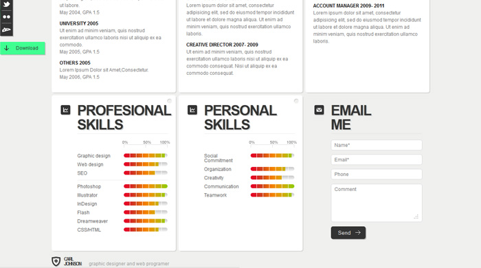 template free website cv