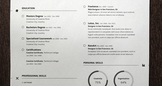 Simple Resume Template vol3 Resumes Templates Pixeden