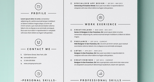 free template cv web resume vector