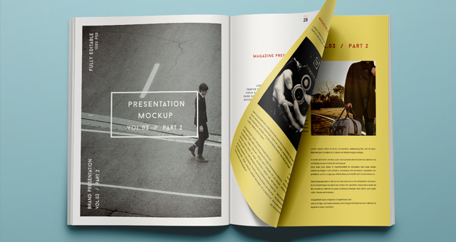 Psd Magazine Mockup View Vol3-2 Psd Mock Up Templates Pixeden