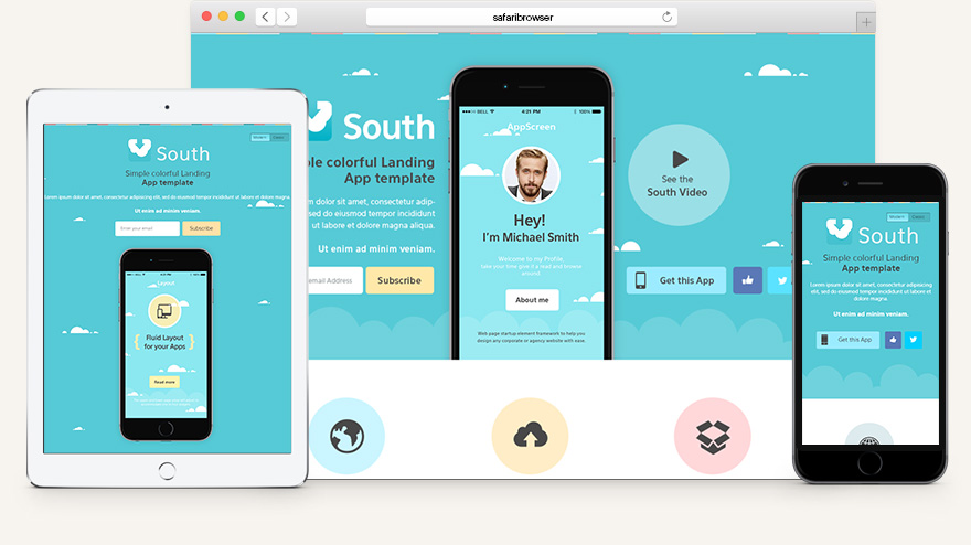 South HTML5 App Landing Page Html5 Website Templates Pixeden - app landing page template