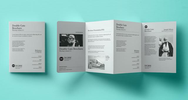 Psd Double Gate Fold Brochure Vol2 Psd Mock Up Templates Pixeden - gate fold brochure mockup