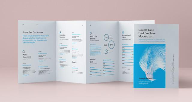 Psd Double Gate Fold Brochure Vol4 Psd Mock Up Templates Pixeden - double fold brochure