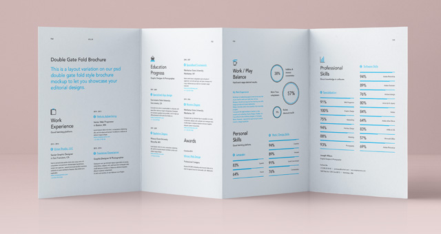 Free Resume Templates Graphic Design Junction Psd Double Gate Fold Brochure Vol4 Psd Mock Up Templates