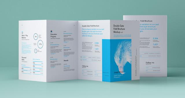 Psd Double Gate Fold Brochure Vol5 Psd Mock Up Templates Pixeden - gate fold brochure mockup
