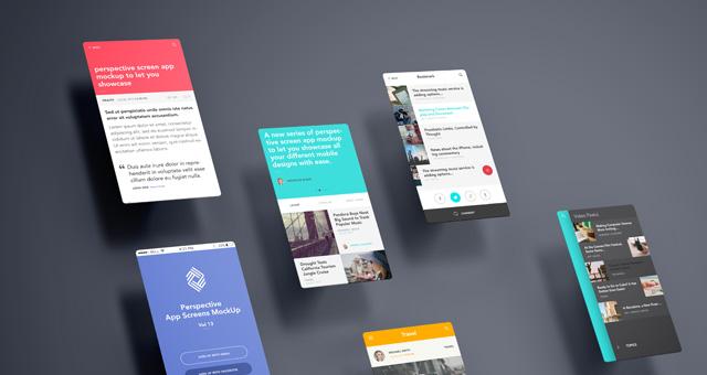 Perspective App Screens Mock-Up 13 Psd Mock Up Templates Pixeden