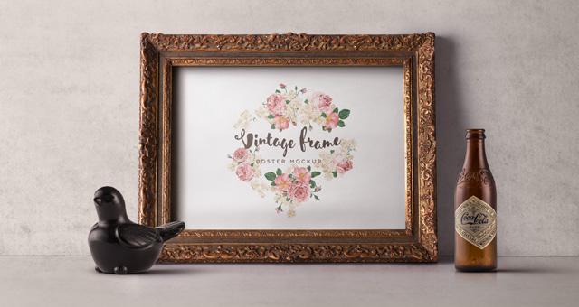 vintage picture frame mockup vol1