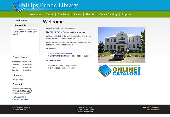 PHD Portfolio  Phillips Public Library  Library Informational Website