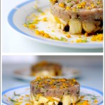 Tartàre di Tonno all'Erba Cipollina su Insalatina di Finocchi, Arance e Olive Nere