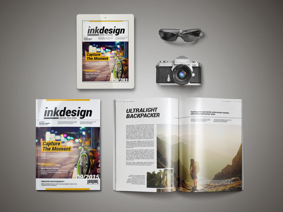 InkDesign Magazine Template Pixelo - free indesign template
