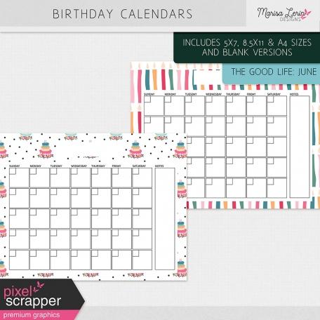 The Good Life June Birthday Calendars Kit by Marisa Lerin graphics