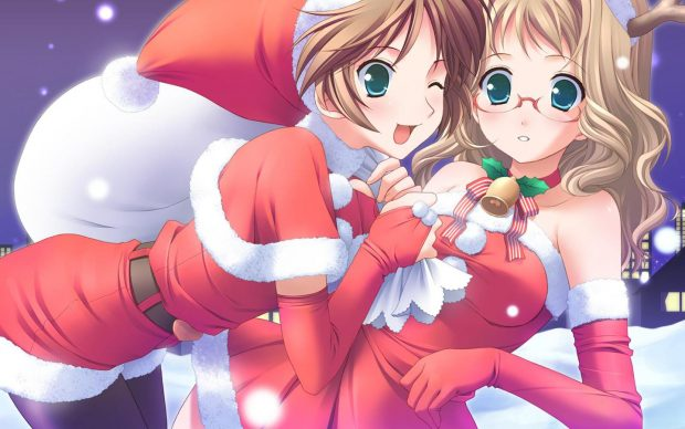 1080p Pretty Anime Girl Wallpaper Cute Anime Girl Christmas Wallpapers Hd Pixelstalk Net