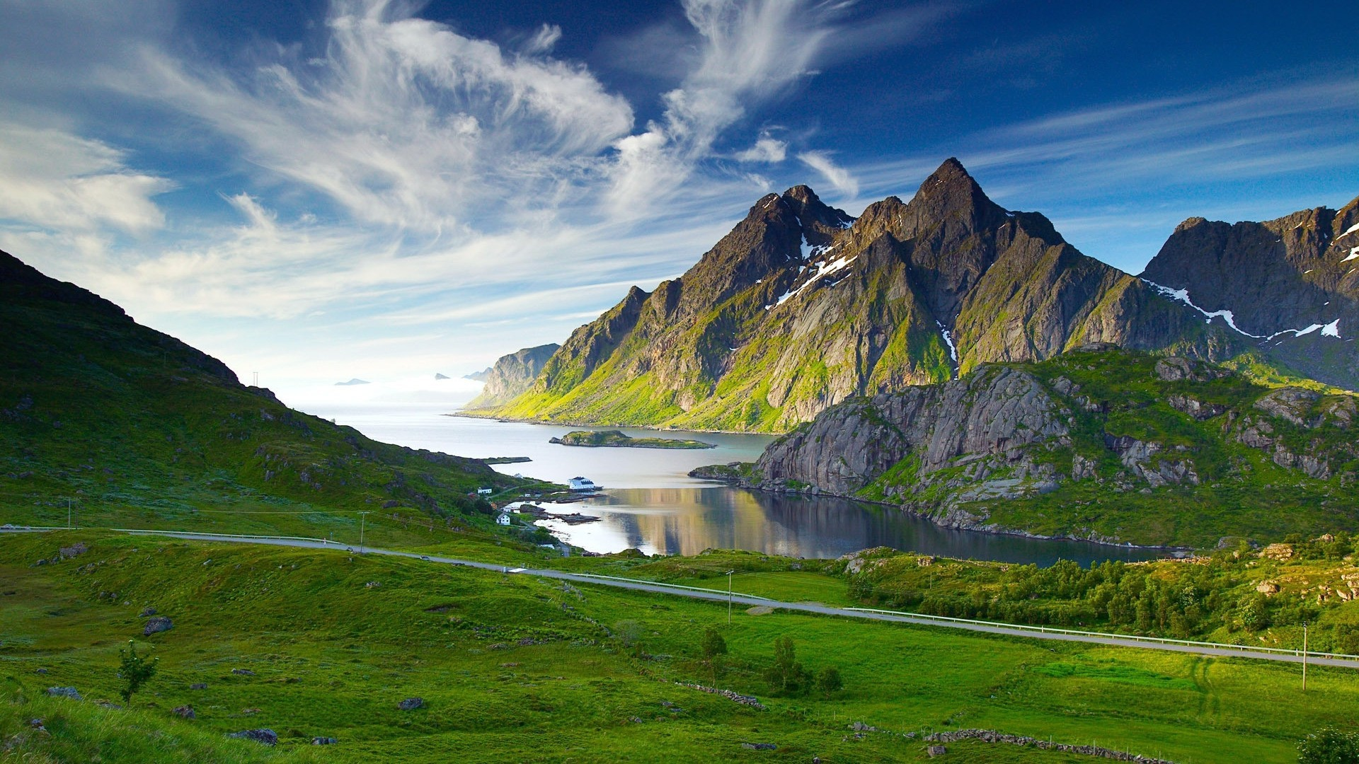 Hd wallpaper mountains - Hd Wallpaper Mountains Green Mountains And Lake In Norway Widescreen High Resolution Wallpaper Download