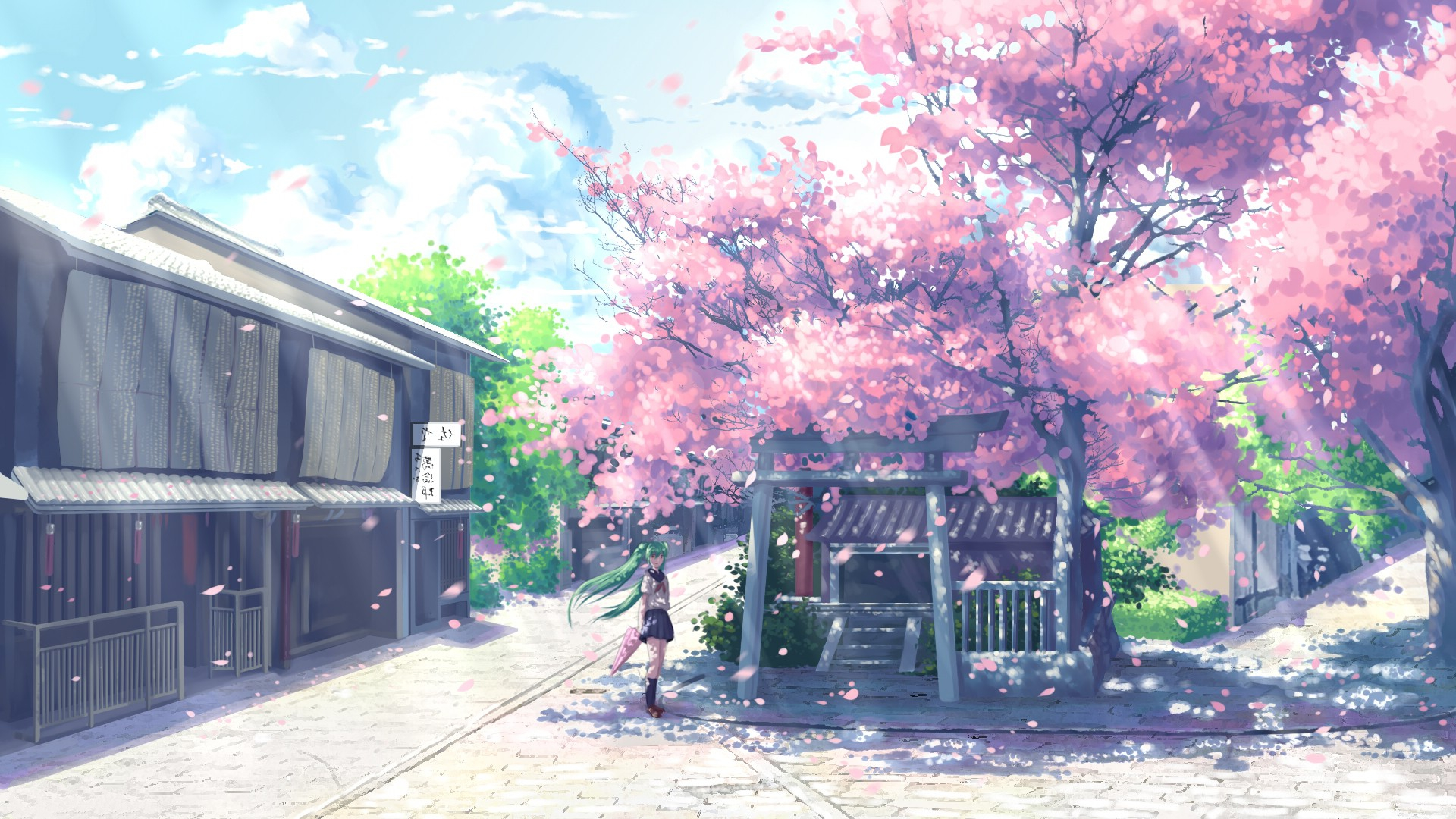 Thanksgiving 3d Wallpaper For Pc Anime Cherry Blossom Desktop Wallpaper Pixelstalk Net