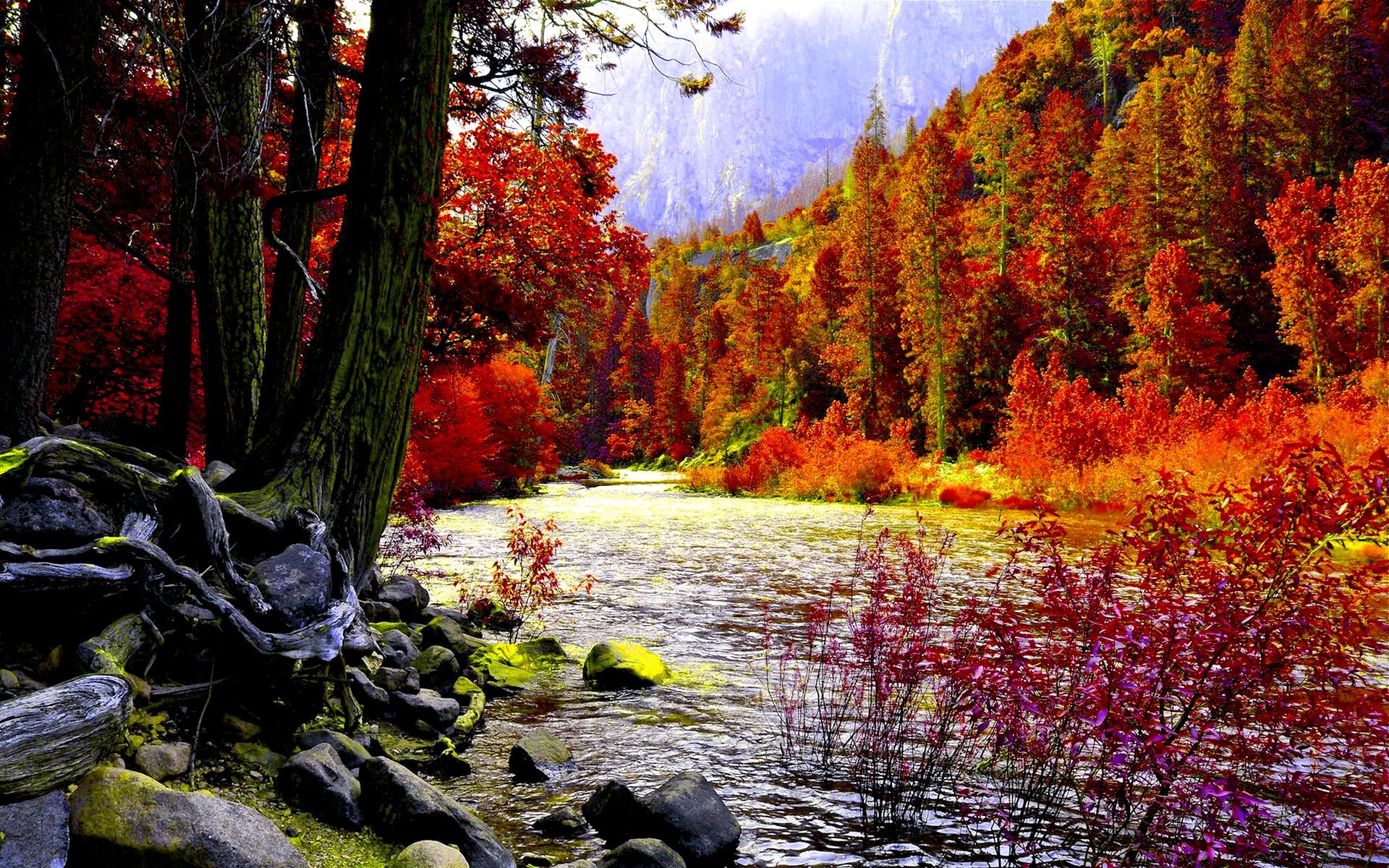 Pixel Forest Wallpaper Cute Autumn River Hd Wallpaper Pixelstalk Net