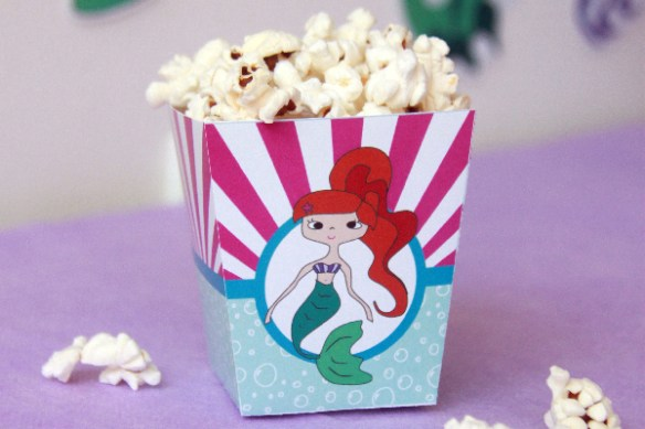 Mermaid Birthday Printable Popcorn Box by Pixiebear Party Printables