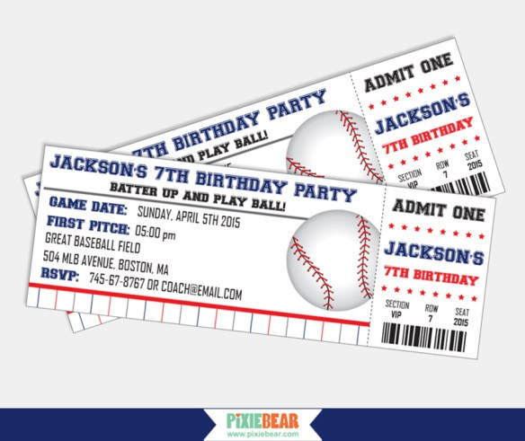 Baseball Birthday Party Invitations by Pixiebear.com