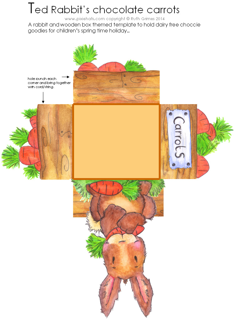 Ted rabbits printable box template for dairy free chocolate carrots - gift box template free