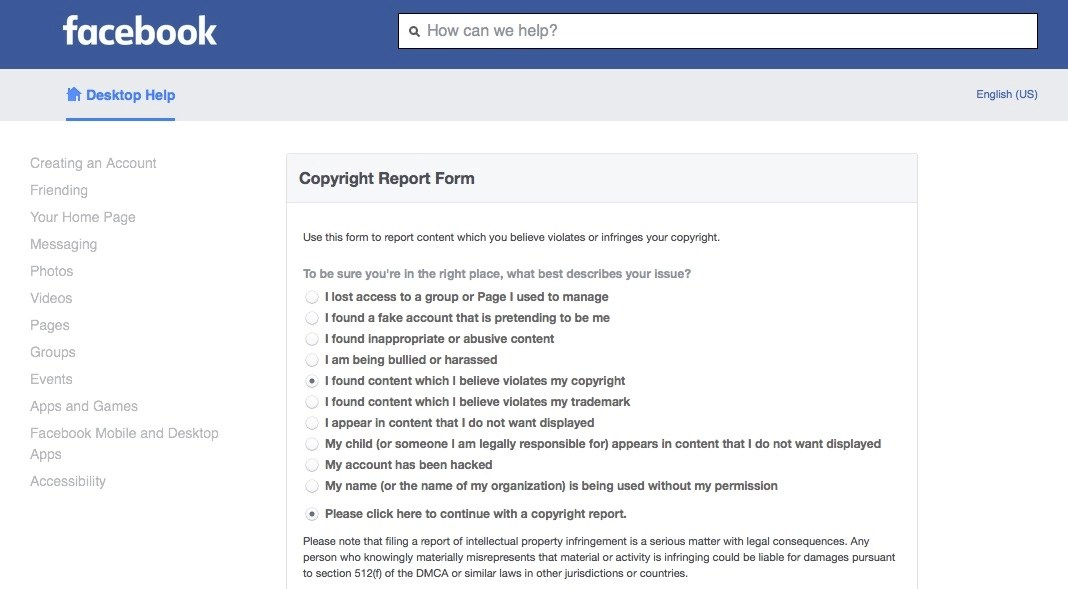 How to Submit a DMCA Notice to Facebook - Plagiarism Today