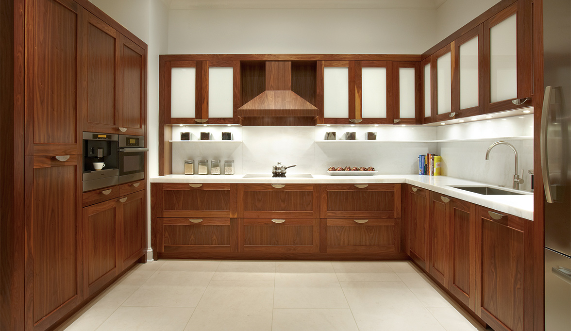 natural walnut custom kitchen cabinets walnut kitchen cabinets Custom Kitchen Cabinets in Natural Walnut