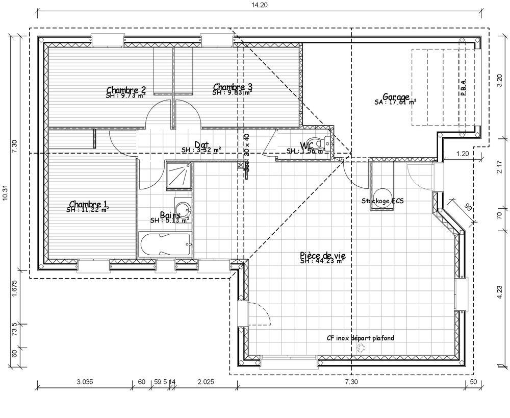 Plan maison moderne toit plat plain pied for Plan maison interieur plain pied