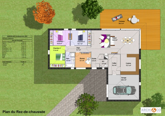 plan de maison plain pied en l Home plan Pinterest - construction de maison en 3d