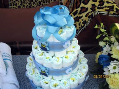simple baby boy diaper cake
