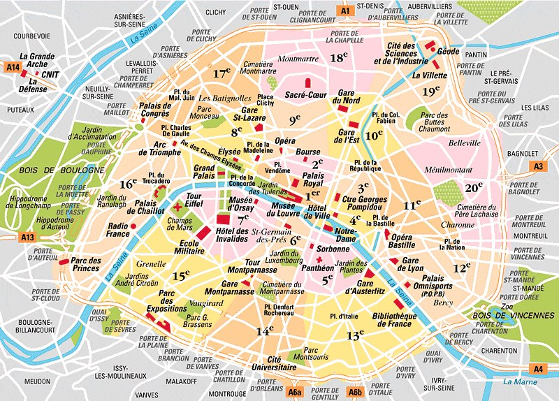 District (Arrondissement) in Paris with major landmarks marked