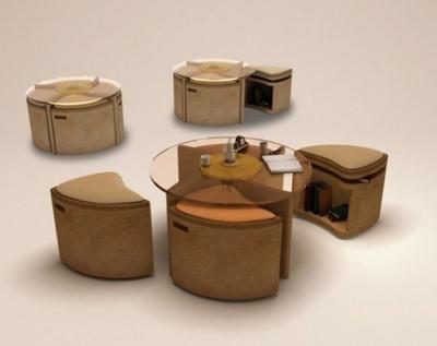 Mesa de cristal con asientos plegables con espacio para almacenamiento