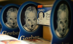 NEW YORK - APRIL 12: Gerber baby food products are seen on a supermarket shelf April 12, 2007 in New York City. Nestle SA, the world's largest food company, announced it will purchase Gerber, the largest baby food producer in the U.S., for $5.5 billion. (Photo by Mario Tama/Getty Images)