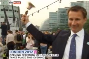 Jeremy Hunt hits a woman with a bell (1)