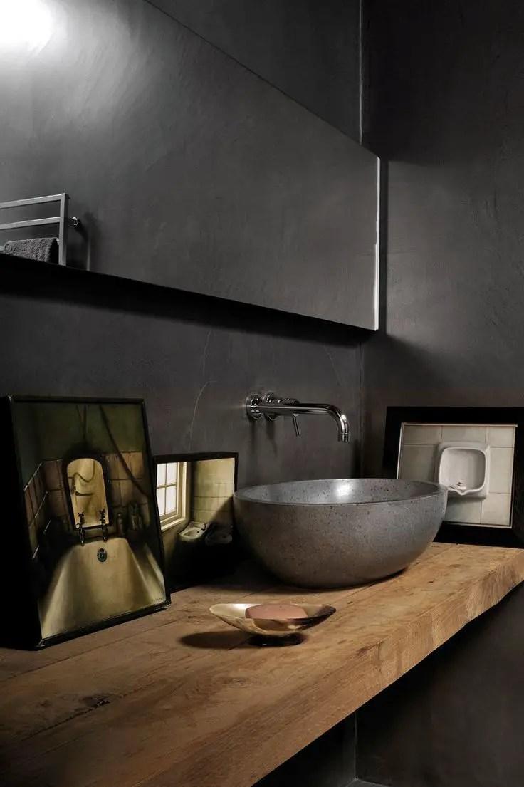 Baño Pequeno Suelo Oscuro:bathroom wood and grey más baño zen lavabo madera proyecto bano