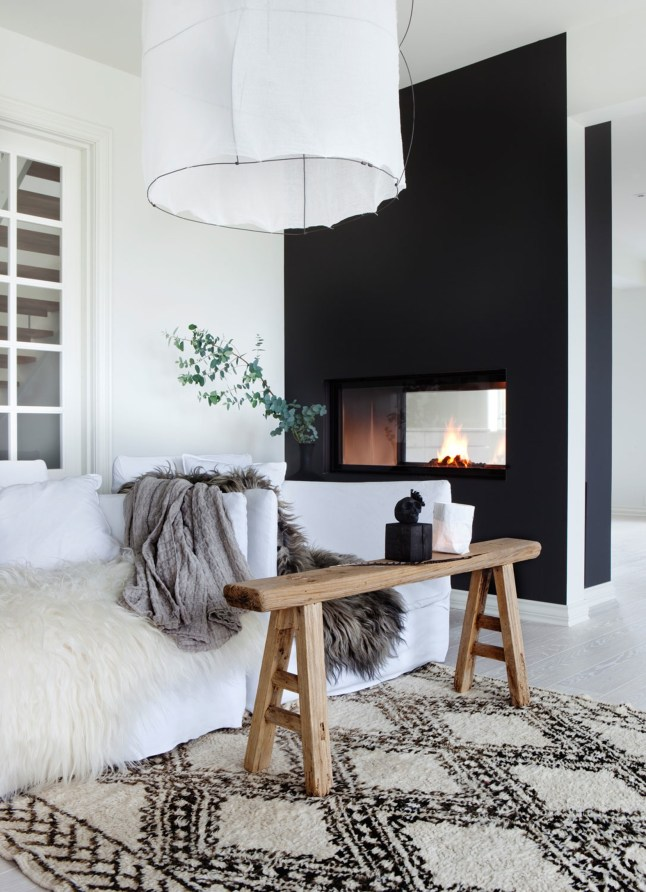 black wall in a livinng room