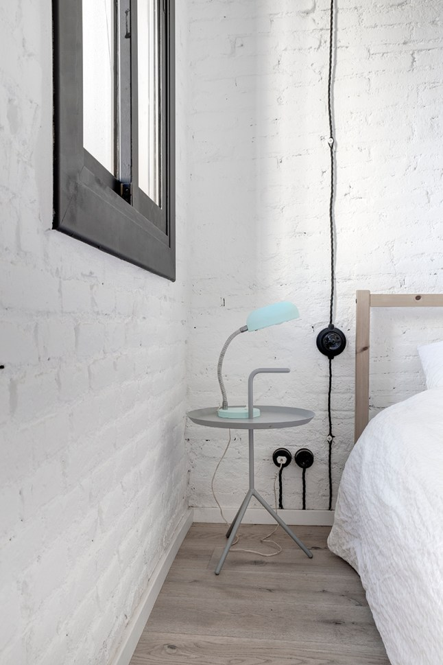 estilo industrial, blanco, paredes ladrillo, estilo nórdico, suelo madera, dekoloop