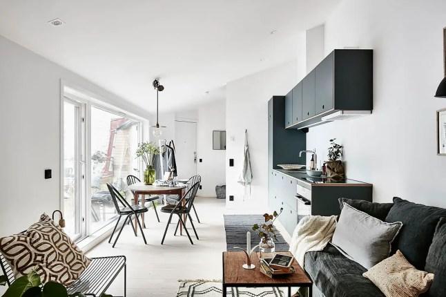 Un petit appartement su dois tout en longueur planete - Comment amenager un salon salle a manger en longueur ...