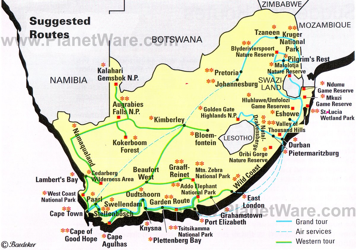 Map Of South Africa Suggested Routes Planetware