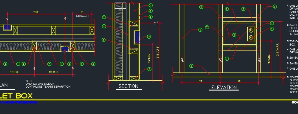 Outlet Box Framing detail - CAD Files, DWG files, Plans and Details