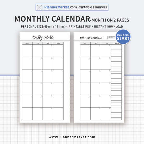 Monthly Calendar, Month On 2 Pages, 2019 Planner, Personal Size