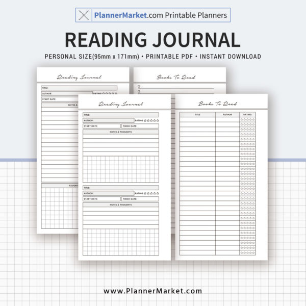 Reading Journal, 2019 Planner, Personal Size Inserts, Planner Refill