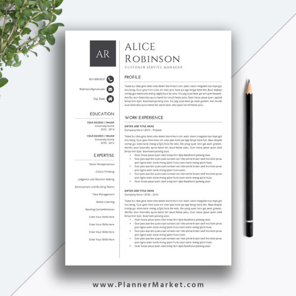 Professional Resume Template, Cover Letter, MS Word, Creative CV