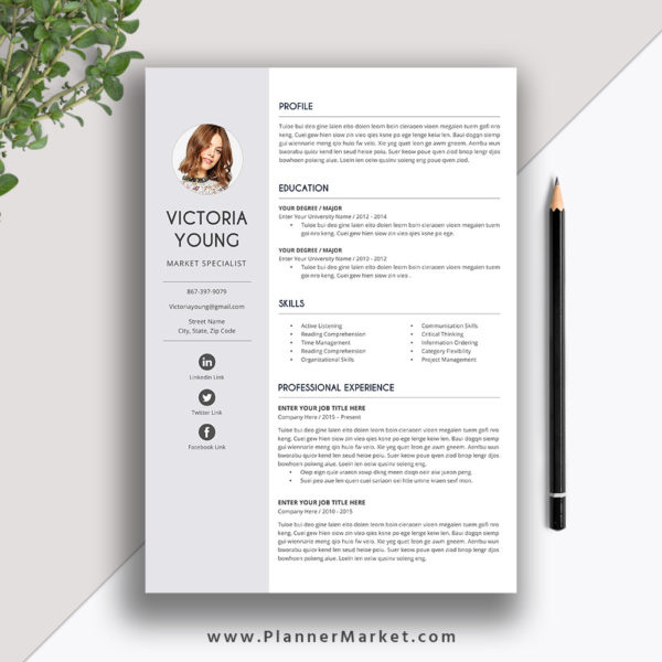 Unique Resume Template, Cover Letter, Word, Creative CV Template