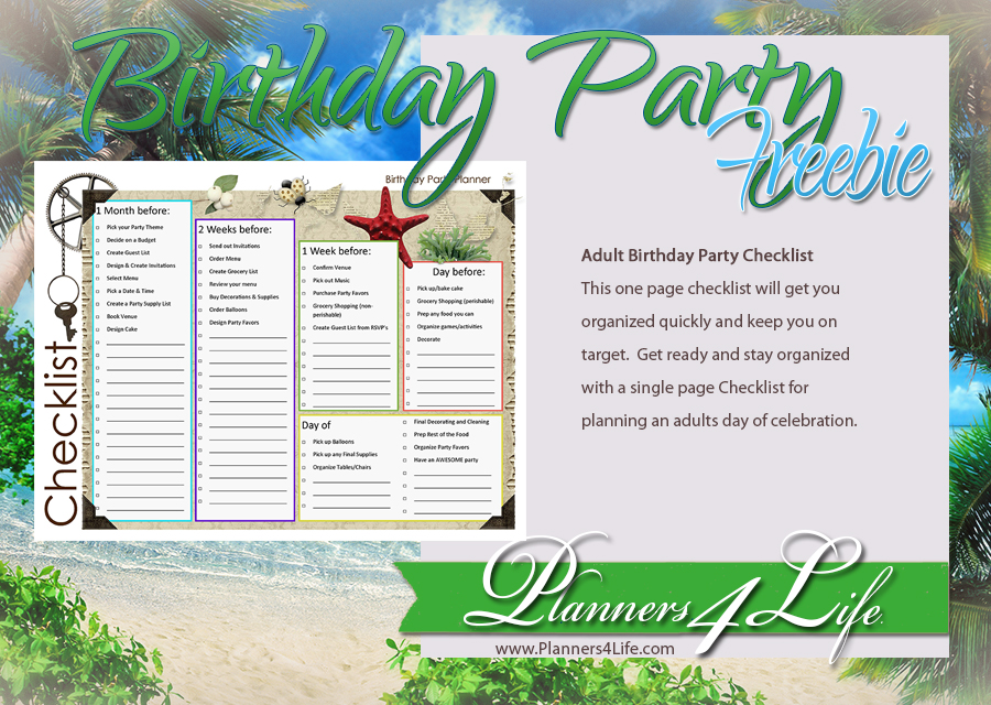 Birthdays  Birthday Party Planner Checklist for Adults