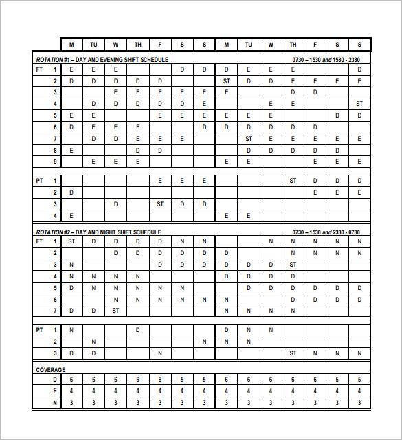shift worker calendar