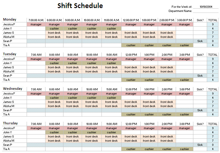 24 Hour Shift Schedule Template planner template free