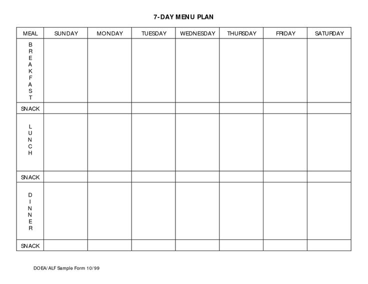 7 Day Meal Planner Template planner template free
